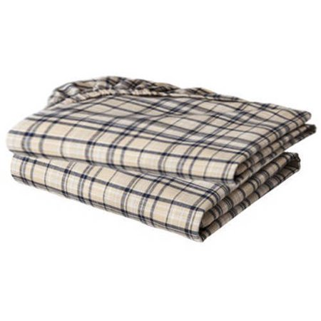 Bacati - Plaids Yarn-Dyed Crib/Toddler Bed Sheets 100% Cotton Percale, Khaki, 2-Pack