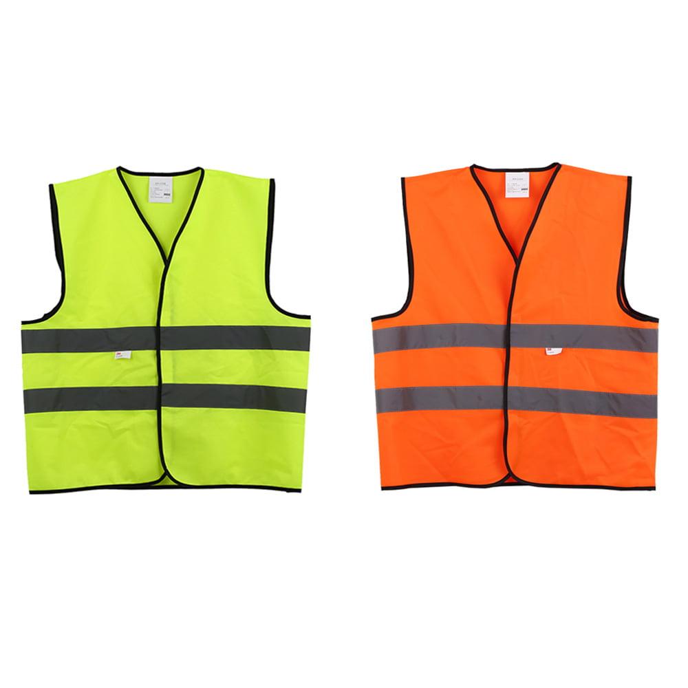 V/élo XL Avertissement Gilet r/éfl/échissant V/êtements de travail Haute visibilit/é Jour Nuit Gilet de protection pour la s/écurit/é routi/ère Jaune
