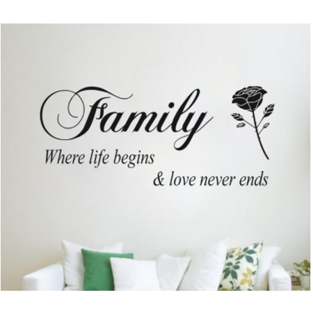 Outgeek Wall Stickers Removable Family Rose Pattern Art Decors Decal Stickers for Bedroom Living Room Home Decor ()