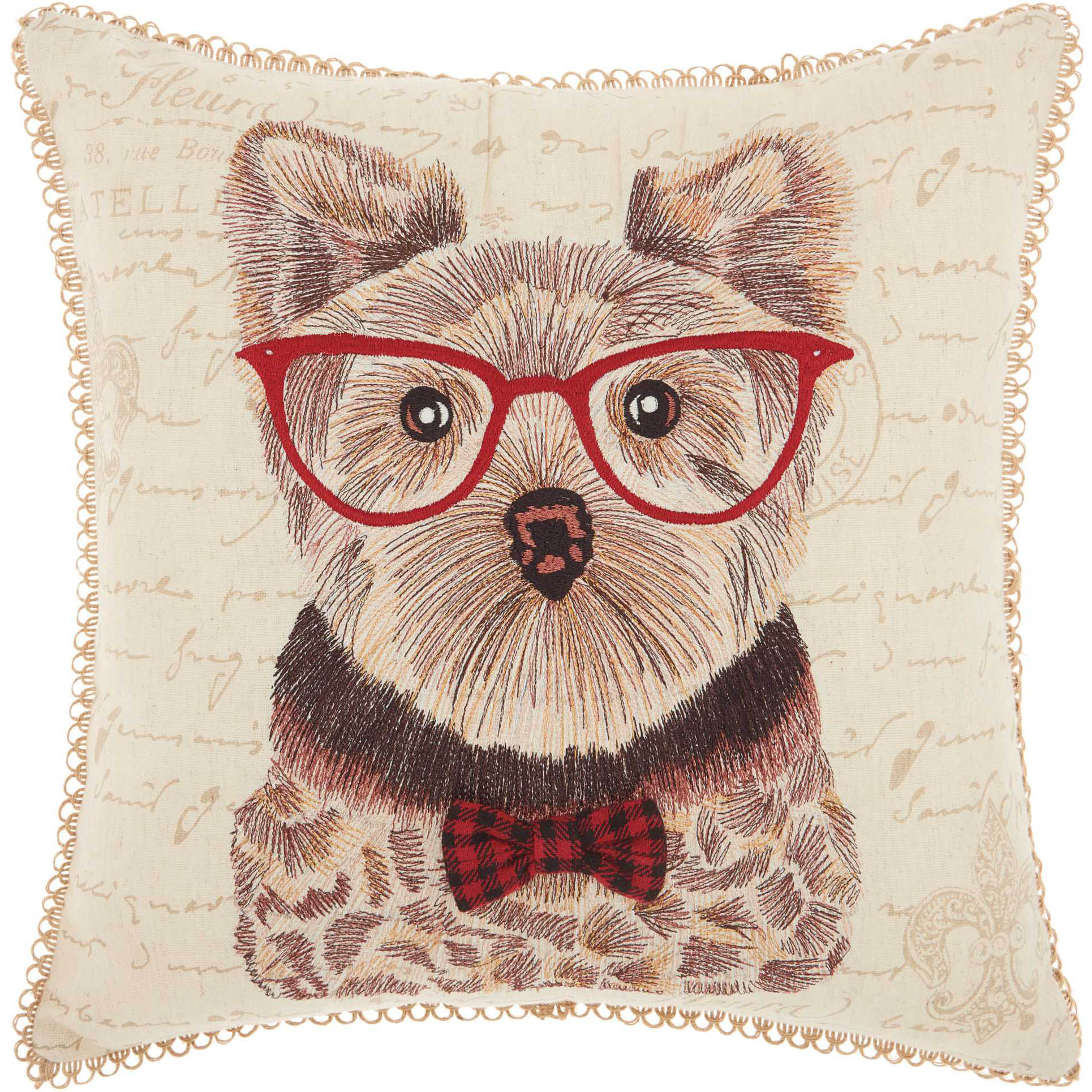 Nourison Trendy, Hip, & New Age Studious Yorkie Natural Throw Pillow