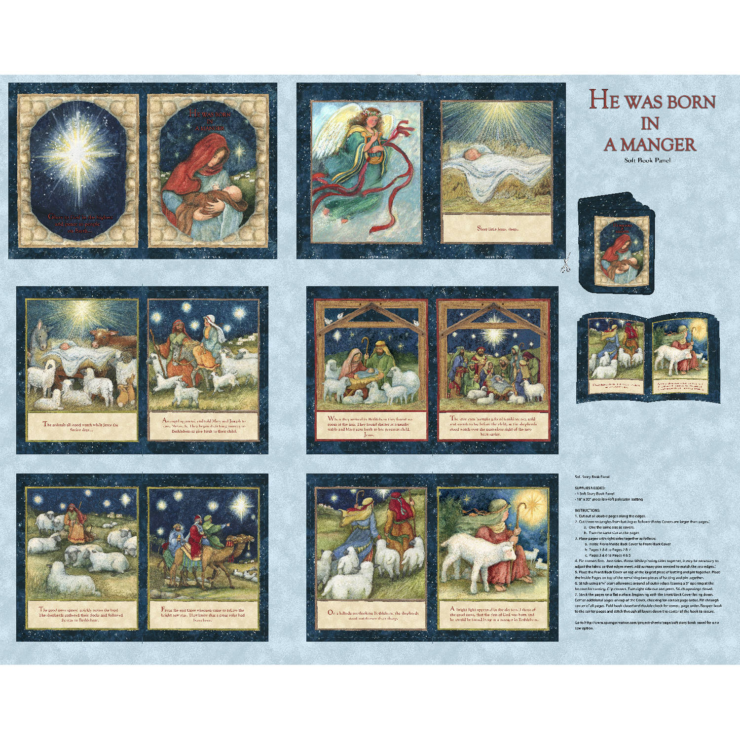 """Springs Creative Christmas Nativity Softbook, Multi-Colored, 43/44"""" Wide, Fabric By the Yard"""