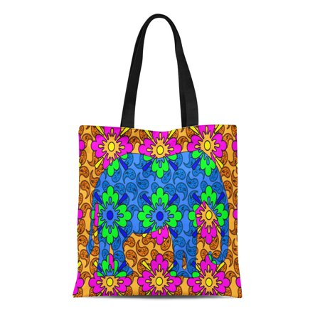 ASHLEIGH Canvas Tote Bag Colors Bright Paisley Colorful Elephant Love Lover Collector Circus Reusable Handbag Shoulder Grocery Shopping Bags (Bass Collectors)