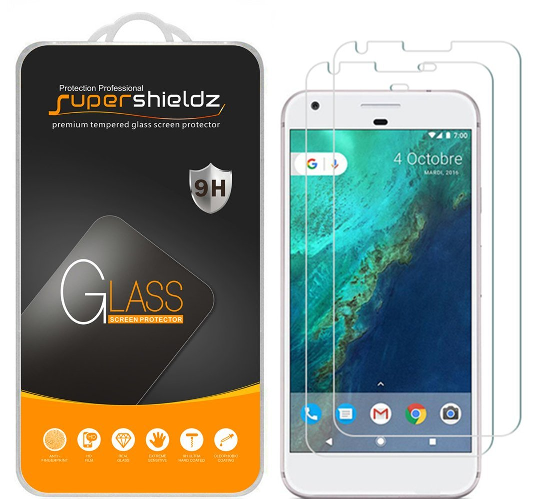 [2-Pack] Supershieldz Google Pixel XL Tempered Glass Screen Protector, Anti-Scratch, Anti-Fingerprint, Bubble Free