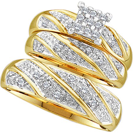 Sizes - L = 7, M = 10 - 10k Yellow Gold Trio His & Hers Round Diamond Cluster Matching Bridal Wedding Ring Band Set (1/4