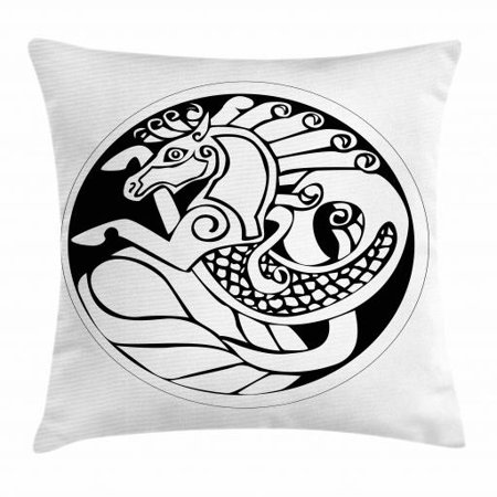 Celtic Throw Pillow Cushion Cover, Druidic Astronomical Symbol of Unicorn Water Horse in Circle Pattern Artwork, Decorative Square Accent Pillow Case, 18 X 18 Inches, Black and White, by Ambesonne