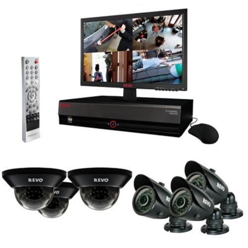 REVO America R84D3GB3GM18-1T 8 Ch.  1TB DVR Surveillance System with 6 700TVL 100 ft.  Night Vision Cameras & 18. 5 inch