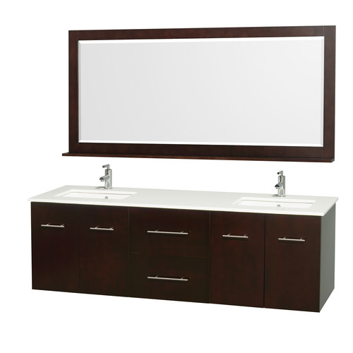 Wyndham Collection Centra 72 inch Double Bathroom Vanity in Espresso, White Man-Made Stone Countertop, Square Porcelain Undermount Sinks, and 70 inch Mirror