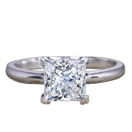 Classic 1 Carat Princess cut Moissanite Solitaire Engagement Ring with 18k Gold Plating