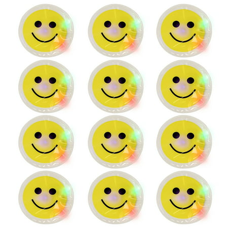 12 Light Up Smile Face Stickers - 1 Dozen LED Glow In The Dark Smiley Face -