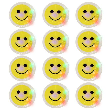 12 Light Up Smile Face Stickers - 1 Dozen LED Glow In The Dark Smiley Face Stick](Smiley Face Lights)