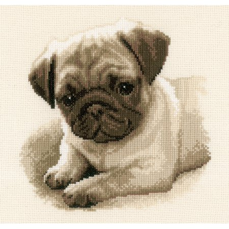 """Vervaco Counted Cross Stitch Kit 8.5""""X8.5""""-Pug Dog On Aida (14 Count) - image 1 of 1"""
