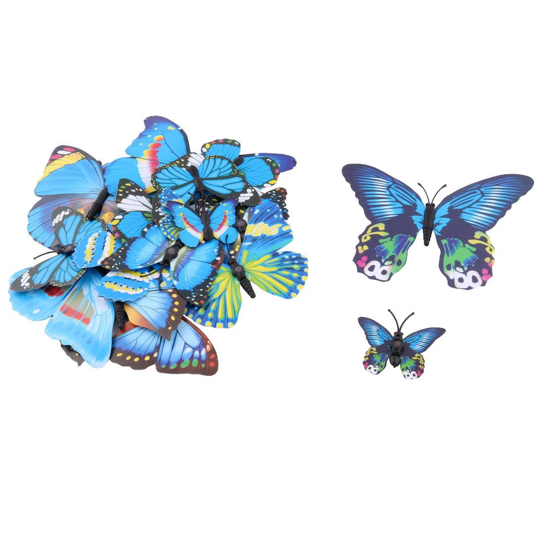 PVC Handcraft Artificial Butterfly 3D Wall Refrigerator Door Sticker Blue 2 Sets