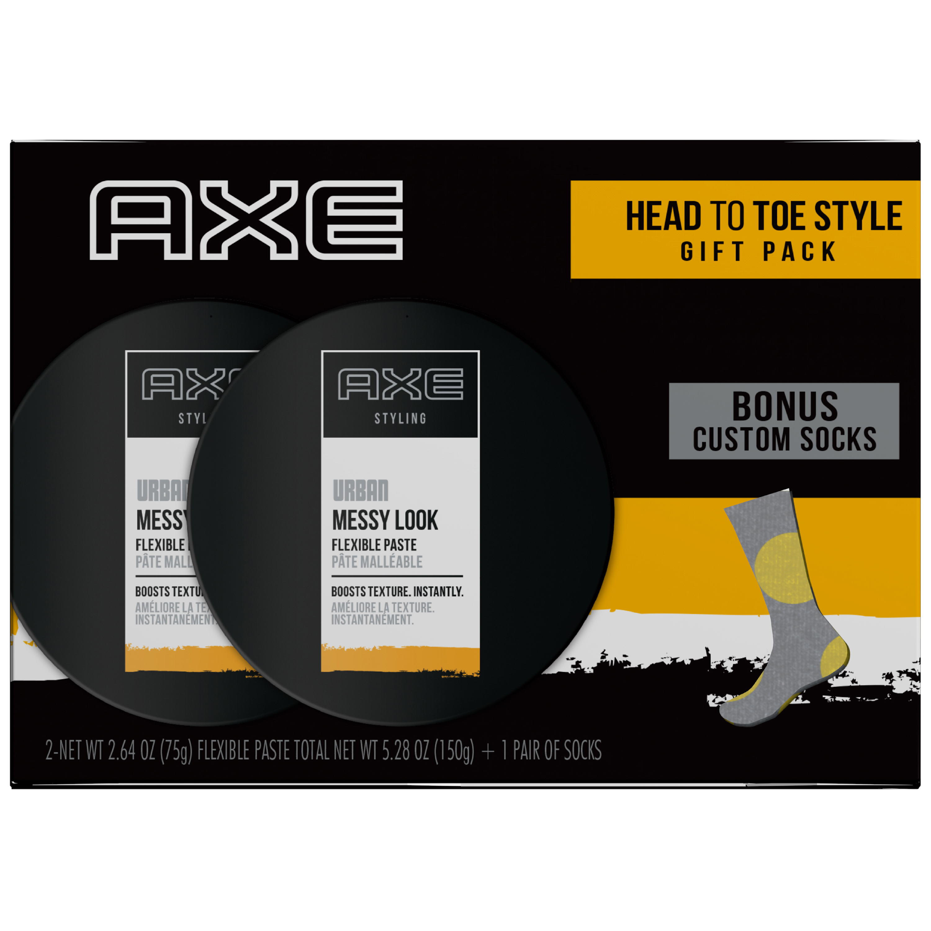 Axe Styling Gift Set With Socks Messy Look 3 Pc Pomade Oilbased Medium Hold 55gr Non Label