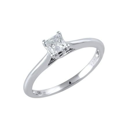 - 14 Karat White Gold 1/3 Carat Princess Cut Solitaire Diamond Engagement Ring
