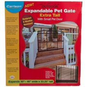"""Carlson Weatherproof Outdoor Expandable Gate With Pet Door Extra Tall - 30""""-46"""" Wide x 32"""" High"""
