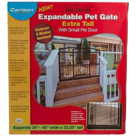 Carlson Weatherproof Outdoor Expandable Gate With Pet Door Extra
