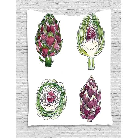 Artichoke Tapestry  Vegetables From Various Angles Agriculture Diet Food Watercolor Set  Wall Hanging For Bedroom Living Room Dorm Decor  40W X 60L Inches  Magenta And Fern Green  By Ambesonne