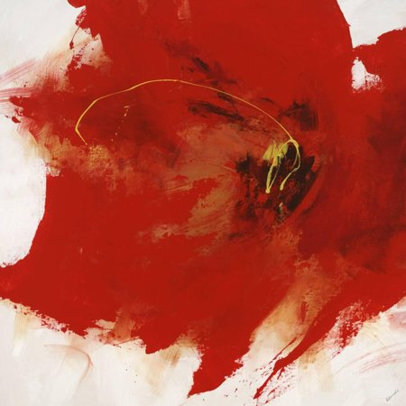 Red Flower Painting - Hot Spot I Red Abstract Flower Painting Print Wall Art By Sydney Edmunds