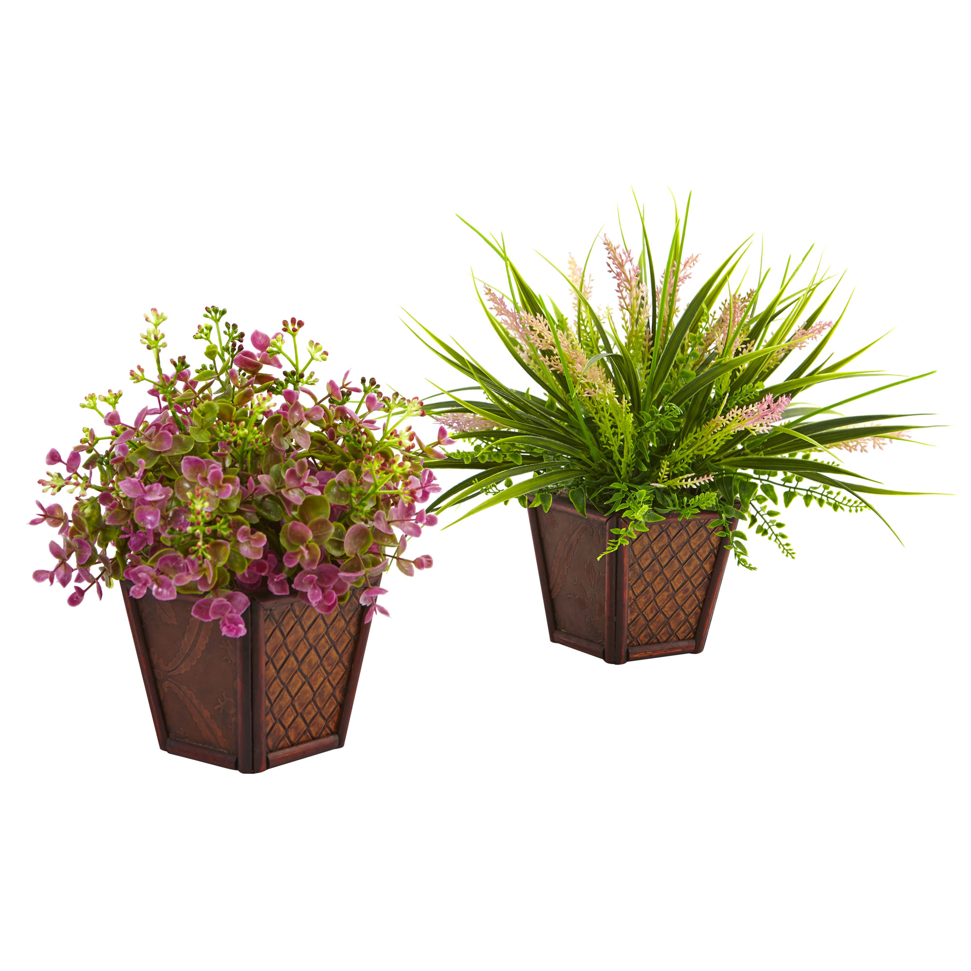 Nearly Natural Assorted Grass Set with Decorative Planters (Set of 2)