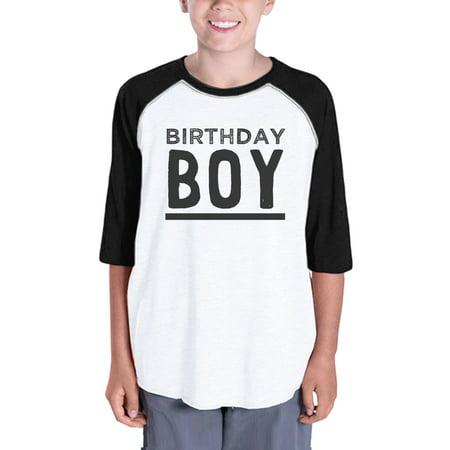 Baby Boy Baseball Tee For Boys Birthday Gift Tee 3/4 Black Sleeve