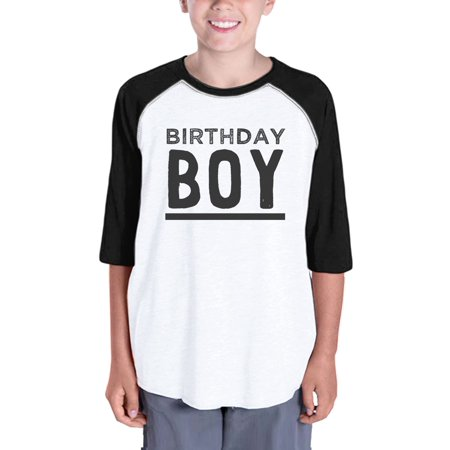 Baby Boy Baseball Tee For Boys Birthday Gift Tee 3/4 Black