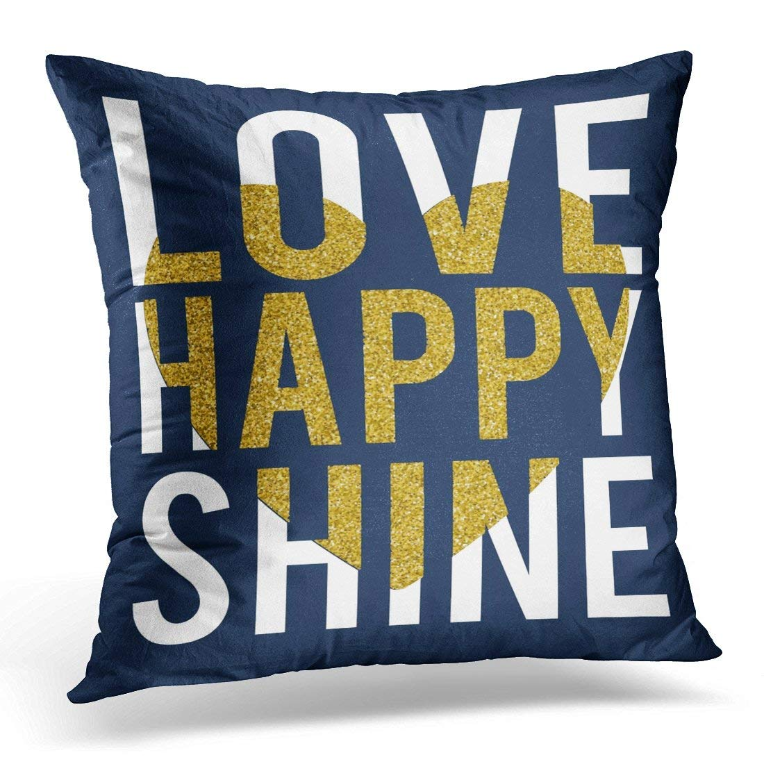USART Black Girl Love Happy Slogan with Gold Glitter and Heart Pink Lettering Pillow Case Pillow Cover 18x18 inch