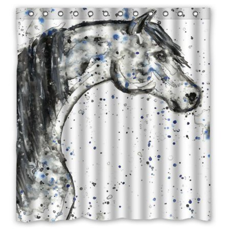 GreenDecor Abstract Watercolor Horse Art Dot Waterproof Shower Curtain Set with Hooks Bathroom Accessories Size 66x72 inches