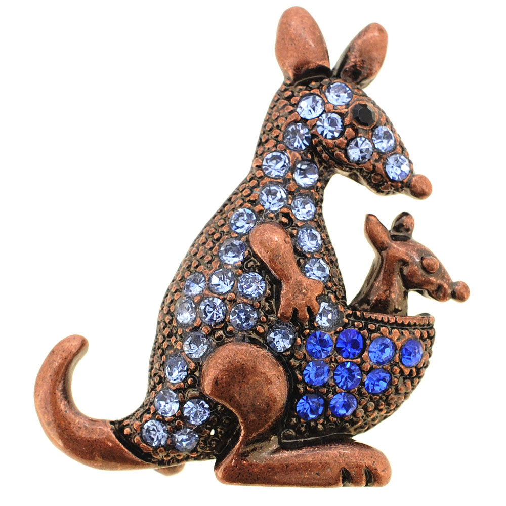 Sapphire Blue Mom And Baby Kangaroo Pin Brooch by