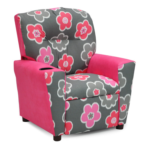 Kidz World Mixy Kids Suede Recliner with Cup Holder and Storage Compartment