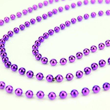 Shiny Metallic Royal Purple Beaded Christmas Garland 15' x 6.25mm - image 1 de 2