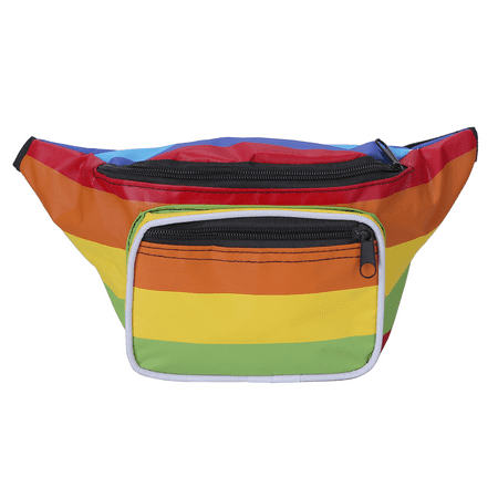 HDE Fanny Pack [80's Style] Waist Pack Outdoor Travel Crossbody Hip Bag (Rainbow)