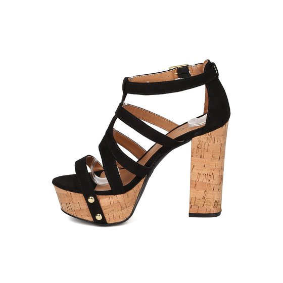 fa0c1fcb7f1 Qupid - Women Faux Suede Open Toe Strappy Cork Platform Block Heel Sandal  GF19 - Walmart.com