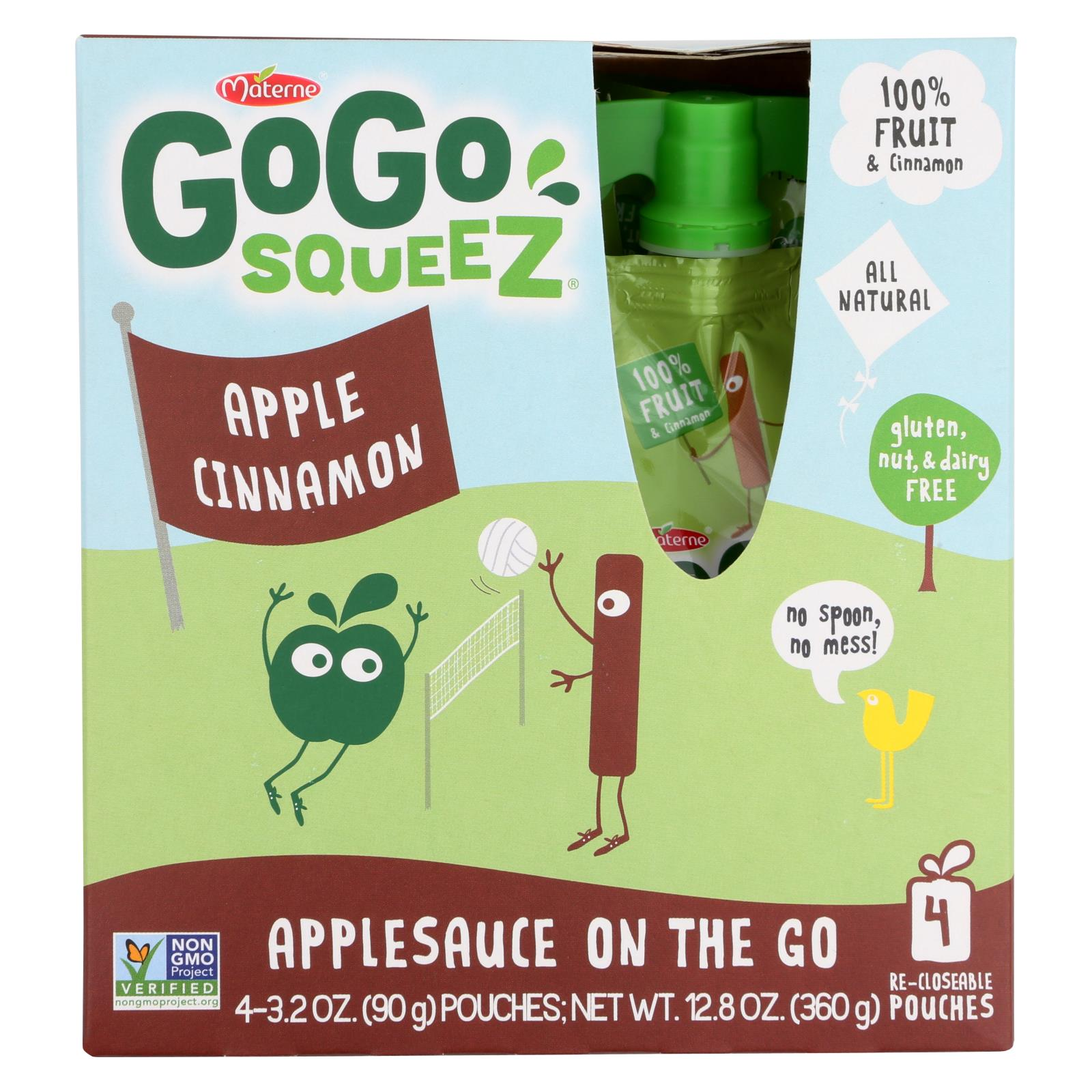 GoGo Squeeze Organic - Apple cinnamon - Case of 12 - 3.2 oz.