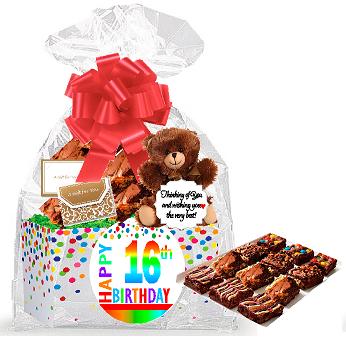 16th Birthday / Anniversary Gourmet Food Gift Basket Chocolate Brownie Variety Gift Pack Box (Individually Wrapped) (16th Birthday Gift Box)