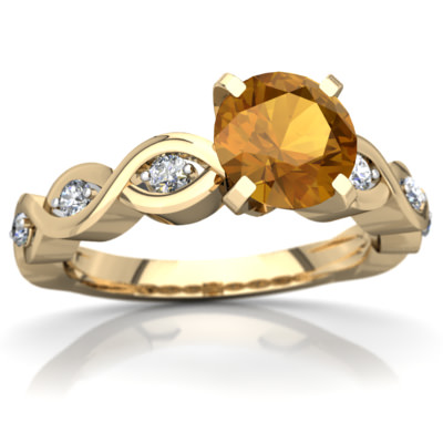 Citrine Infinity Engagement Ring in 14K Yellow Gold by