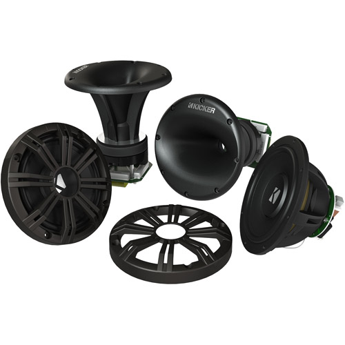 "Kicker KMS67 6.75"" High-Efficiency Marine Component System, Charcoal, 4-Ohm"
