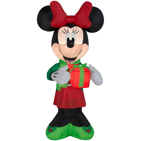 Airblown christmas inflatable minnie w present 5 39 tall for Airstream christmas decoration