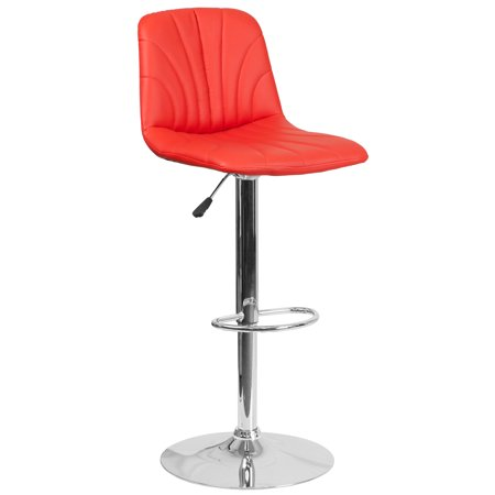 Flash Furniture Contemporary Vinyl Adjustable Height Barstool with Chrome Base, Multiple Colors