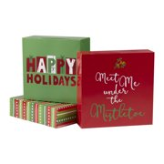 holiday time decorative gift boxes happy holiday theme assorted sizes 3 count