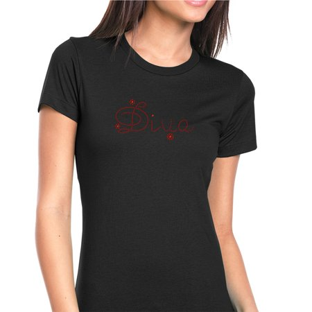 Womens T-Shirt Rhinestone Bling Black Tee Diva Fashion Red Sparkle Crew Neck Large