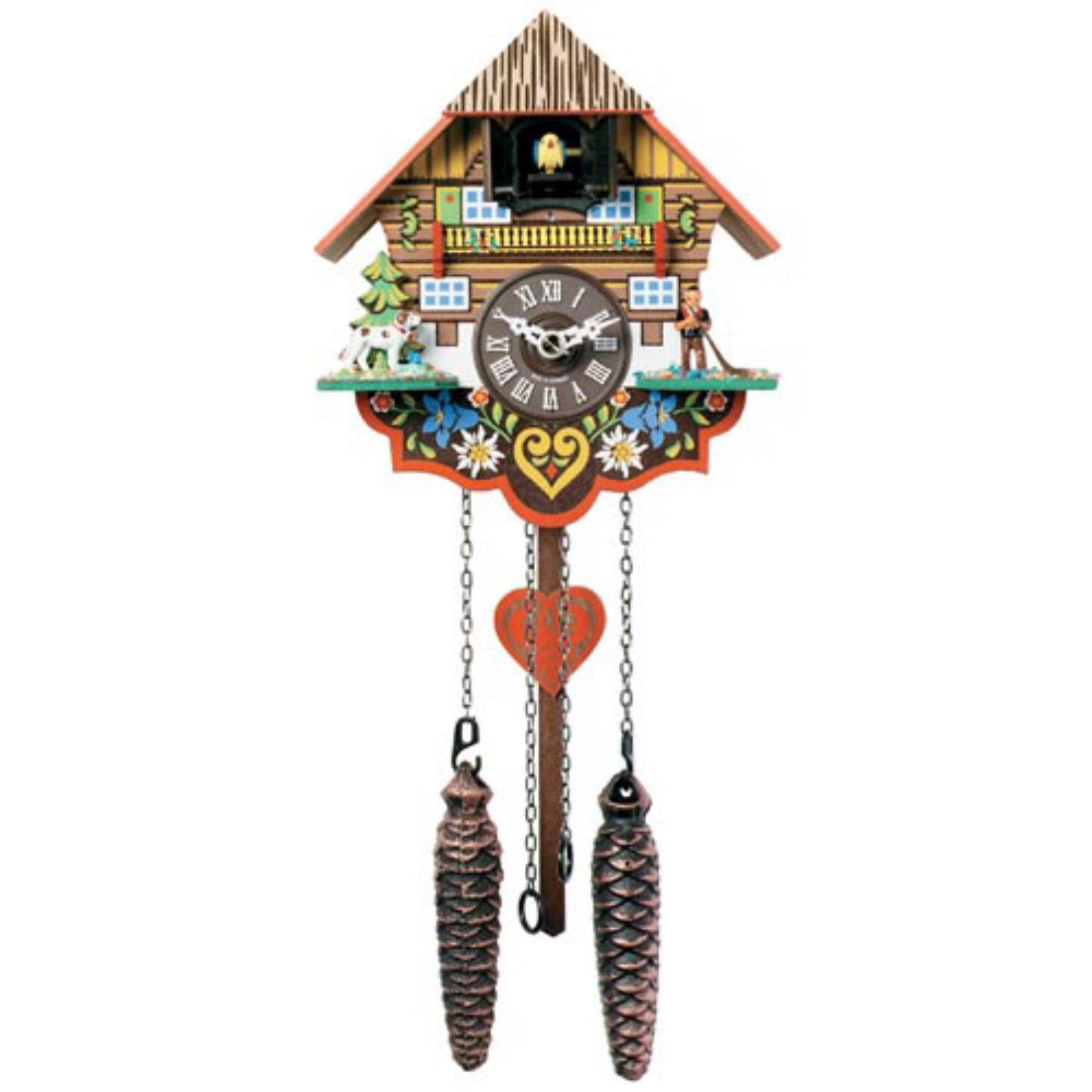 16 Inch Black Forest Saint Bernard with Alpine Horner Player Cuckoo Clock by River City Clocks