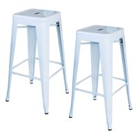 AmeriHome Loft White 30 in. Metal Bar Stool 2 Piece by Buffalo Corp