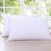 Puredown Triple Chamber Feather and Down Pillow 100% Cotton Fabric, Standard Size, Set of 2