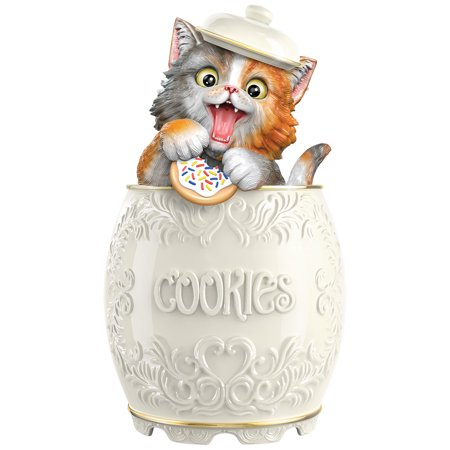 Purr-fect Treat Kitty Cookie Jar - Hand-Fired, Hand-Painted, and Hand-Glazed - Cookie Exchange