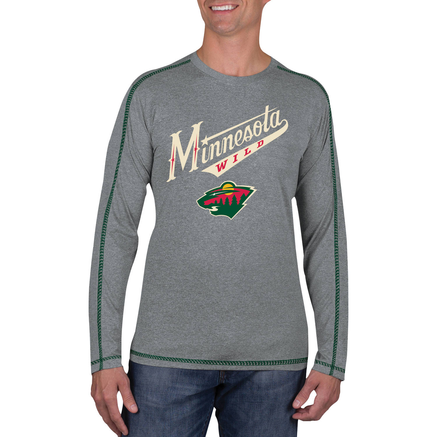 NHL Minnesota Wild Men's Athletic-Fit Long Sleeve Impact Tee Shirt