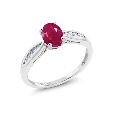 10K White Gold 1.09 Ct Oval Red Ruby and Diamond Engagement Ring (Diamond And Ruby Engagement Ring)