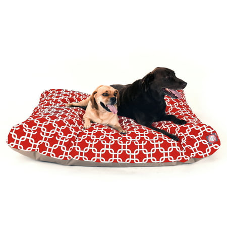 """Majestic Pet Links Rectangle Dog Bed Treated Polyester Removable Cover Red Extra Large 50"""" x 42"""" x 5"""""""