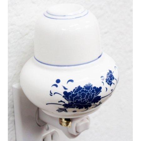 (Blue Peony Porcelain Flower Night Light Lamp Candle Aromatherapy Oil Warmer Burner)