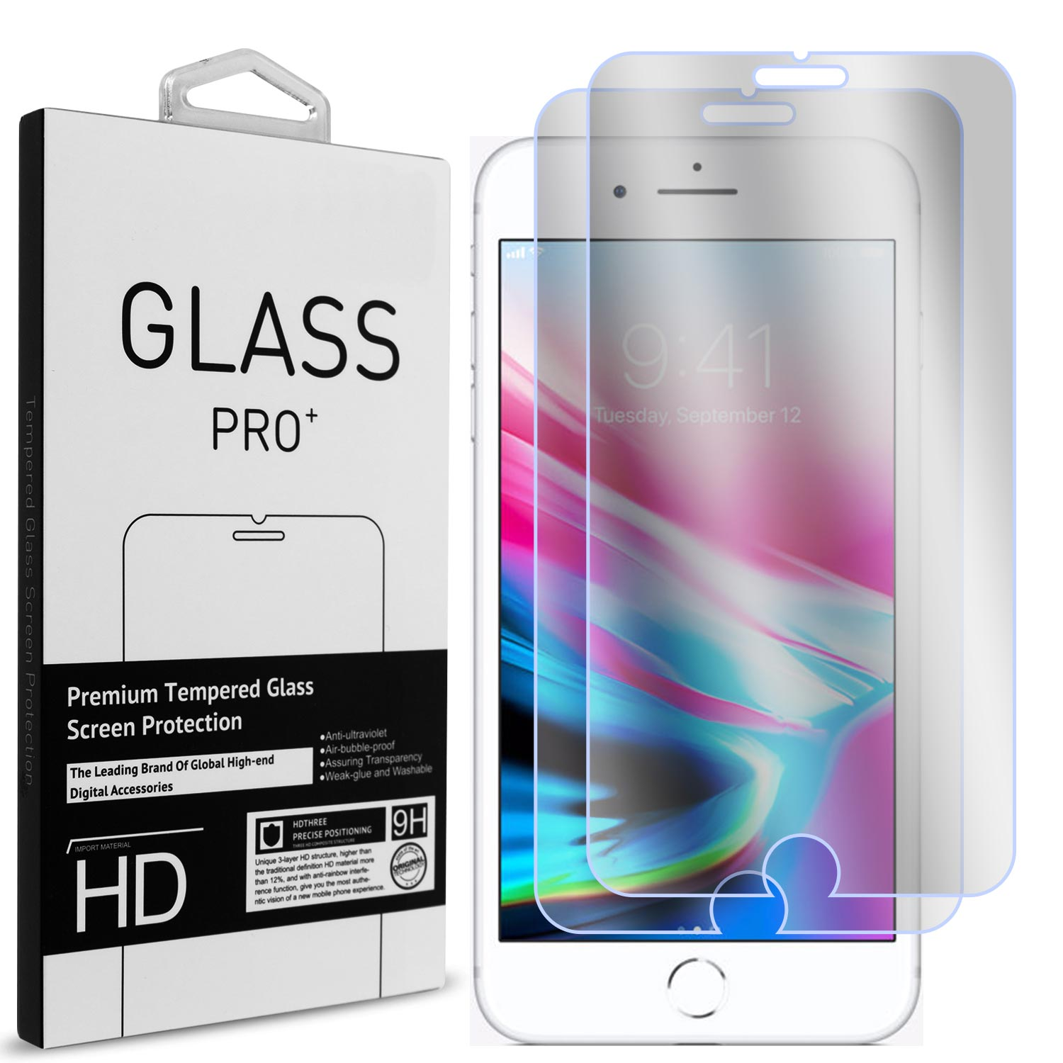 2 Pack of CoverON Apple iPhone 8 / iPhone 7 Tempered Glass Screen Protectors - Premium Grade 9H Tough - HD Clear
