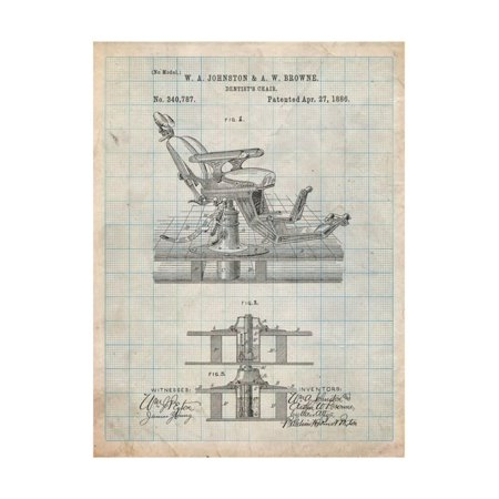 Dentists Chair Patent 1886 Print Wall Art By Cole (Dentist Chair)